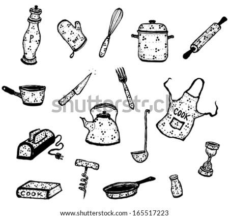 Kitchenware And Cook Utensils Set/ Illustration of a set of kitchenware and cook elements - stock vector