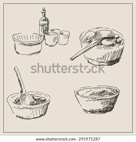 Kitchenware and  cooking tool set with spoon, dish and food, in engraving etching sketch hand drawing style, for food and  cooking design - stock vector