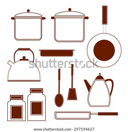 Kitchenware. Cooking Pan, Saucepan, Symbol, Kitchen Utensil.  Vector illustration - stock vector