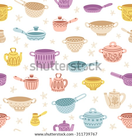 Kitchenware doodle decorated colorful seamless pattern - stock vector