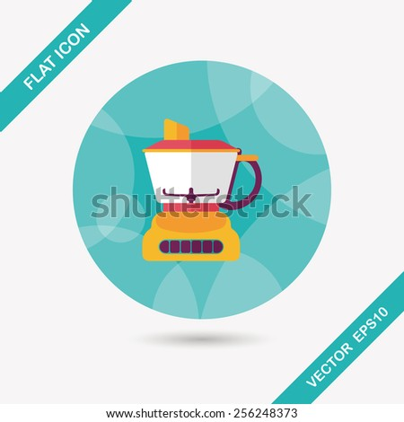 kitchenware electric juicer flat icon with long shadow,eps10 - stock vector
