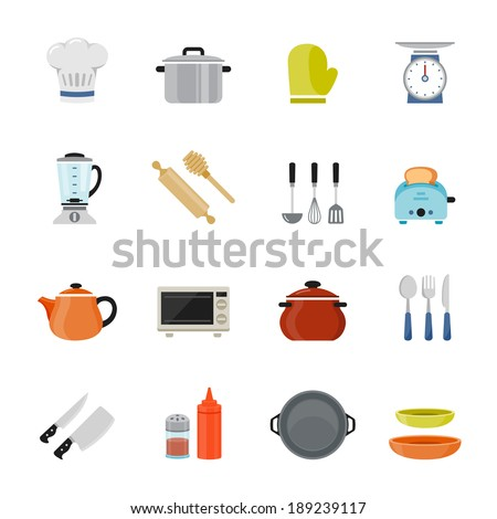 Kitchenware full color flat design icon. Vector illustration - stock vector