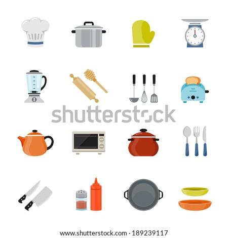Kitchenware full color flat design icon. Vector illustration - stock vector
