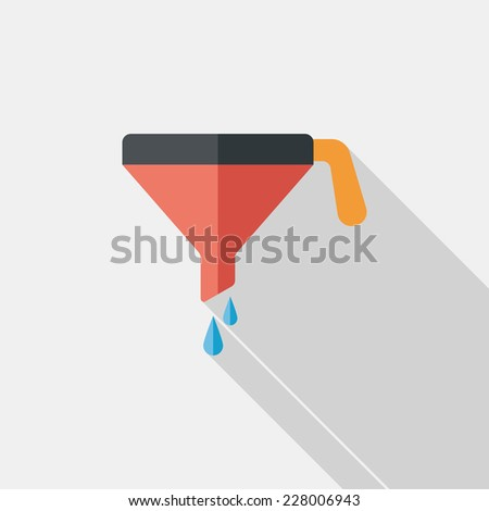kitchenware funnel flat icon with long shadow,eps10 - stock vector