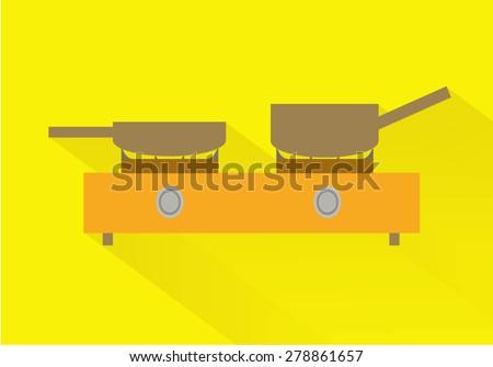 Kitchenware gas stove flat  long shadow. Vector illustration - stock vector