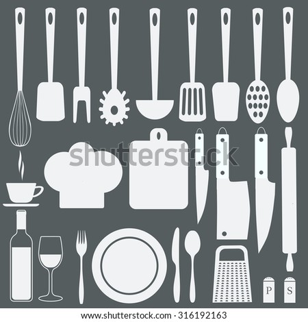 Kitchenware icons set. Plate knife  fork  spoon. Bottle with a glass. Scoop, Board, grater, salt and pepper. A chefs hat. Vector illustration - stock vector