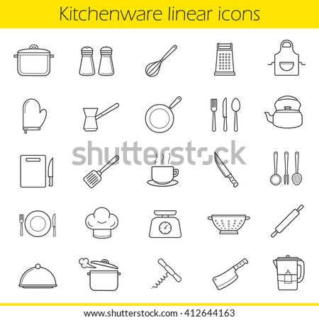 Kitchenware linear icons set. Kitchen tools and appliances thin line contour symbols. Household cooking utensil. Tea and coffee items. Restaurant chefs equipment. Isolated vector illustrations - stock vector