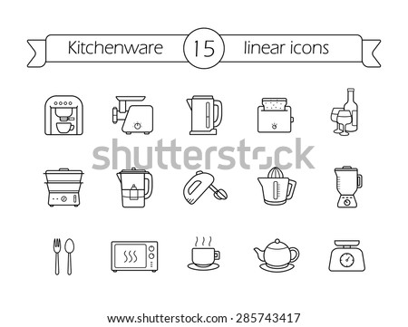 Kitchenware linear icons set. Line art kitchen equipment. Vector - stock vector