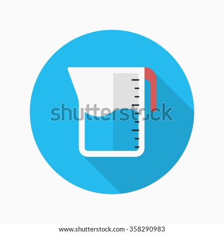 Kitchenware measuring cups flat  icon with long shadow,circle,eps10,interface,button - stock vector