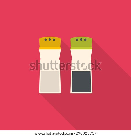 kitchenware pepper and salt bottle flat design with long shadow - stock vector
