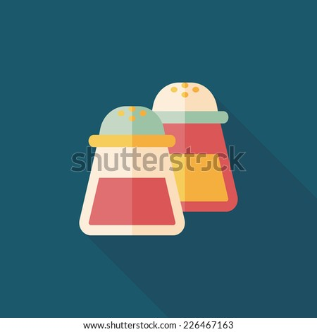 kitchenware pepper bottle flat icon with long shadow,eps10 - stock vector