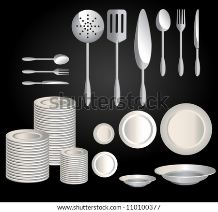 Kitchenware set, black ware - stock vector