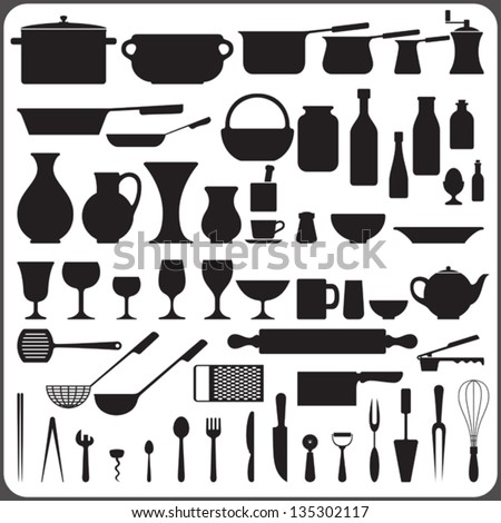 kitchenware set of 57 objects silhouettes - stock vector