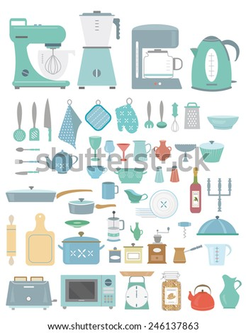 Kitchenware/utensils and household appliance vector set/collection made in flat style using turquoise, blue, red and beige tints - stock vector
