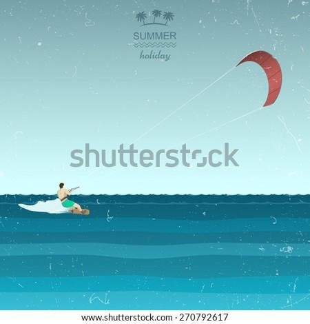 Kitesurfing illustration in retro style - stock vector