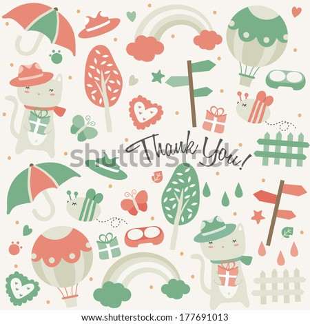 kitty cat and stuff greeting card design - stock vector
