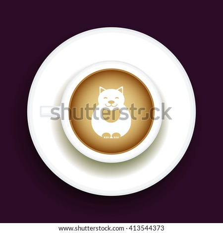 Kitty Coffee Latte art animal, Top view shape foam art of a cappuccino cup with saucer on black table background. Latte art drawing coffee cup with cute cat. Vector - stock vector