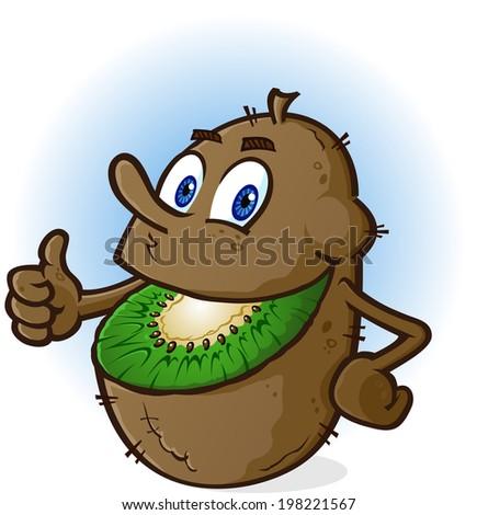 Kiwi Fruit Cartoon Character - stock vector
