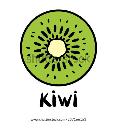 Kiwi Fruit Silhouette Kiwi Fruit Slice Closeup Icon
