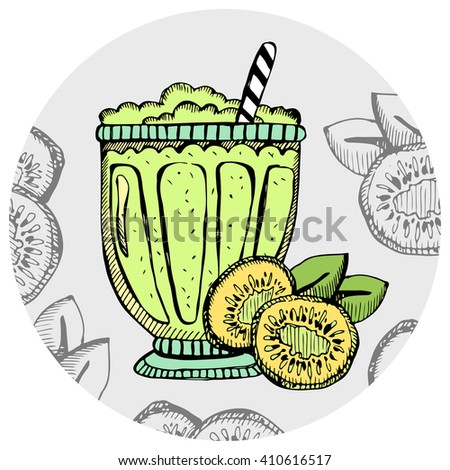 Kiwi milkshake, ice cream, cocktail in a glass with slices of fruit. Hand drawn banana smoothie on the white background. Vector illustration. - stock vector