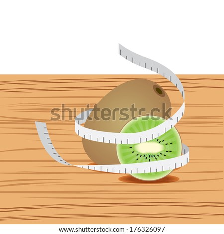 Kiwi with measure tape and table wood - stock vector
