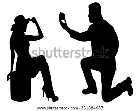kneeled man proposing to a woman - lady - stock vector