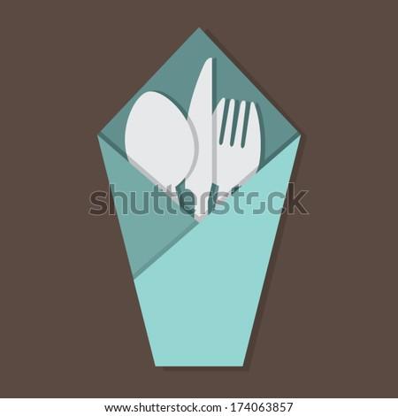 Knife Fork Spoon Set In Table Napkin - stock vector