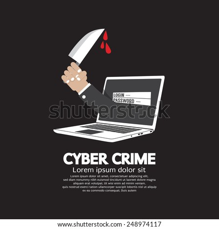 Knife In Hand Cyber Crime Concept Vector Illustration - stock vector