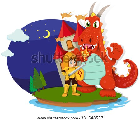 Knight and dragon on the island illustration - stock vector