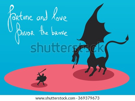 Knight fighting the dragon - stock vector
