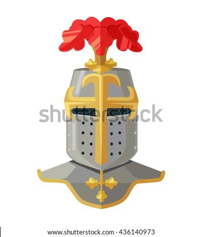 Knight helmet. Knight armour. Knight head. King armor. Vector flat cartoon illustration - stock vector