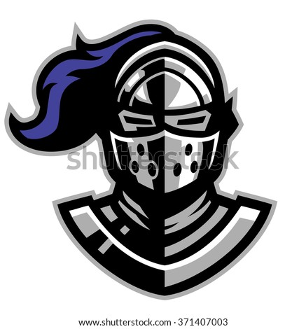 knight helmet mascot - stock vector
