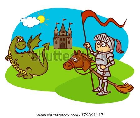 knight, horse, dragon, castle, fairy tale - stock vector