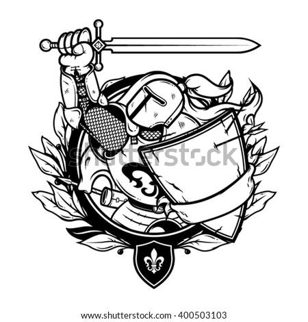 Knight illustration. Knight logo. Knight vector. Knight art. Knight picture. Knight hero. Knight warrior. Knight with sword. Knight with shield. Knight in helmet. Knight in armor. Knight artwork. - stock vector