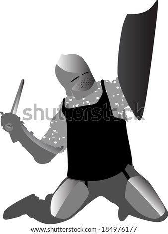 knight in armor on his knees armed with sword and shield vector - stock vector