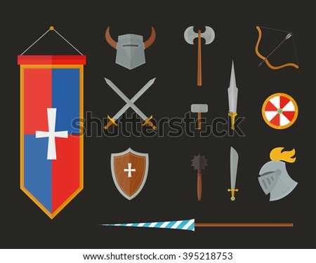 Knight metal armour and vintage knight armour weapon vector. Knight armour with helmet, chest plate, shield and sword flat vector illustration isolated on white background.  - stock vector