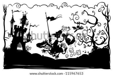 Knight on horseback hurried to the Castle. Silhouette drawing, black and white version. - stock vector