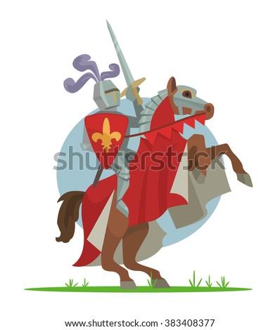 Knight on horseback. Vector cartoon illustration - stock vector