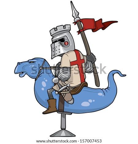 Knight riding a mechanical dragon, vector illustration - stock vector