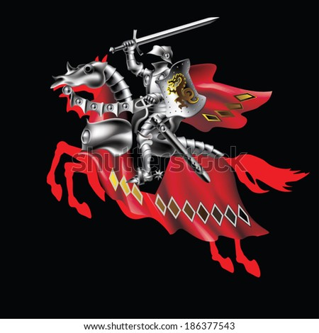 Knight with a sword in red on a black background - stock vector