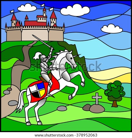 Knight with a sword on horse on the background of castle in stained glass style. Stained glass window - stock vector