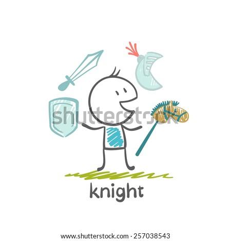 knight with a sword, shield, knight, helmet illustration - stock vector