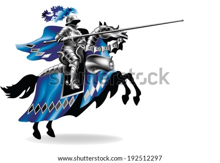 Knight with lance on horse left on white background - toned in robes - stock vector
