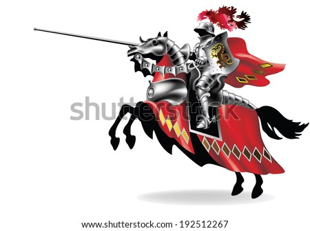 Knight with lance on horse on white background right - toning in robes - stock vector