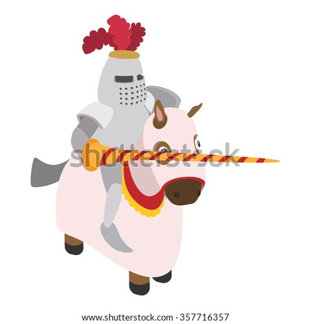 Knight with spear and horse cartoon character on a white background - stock vector