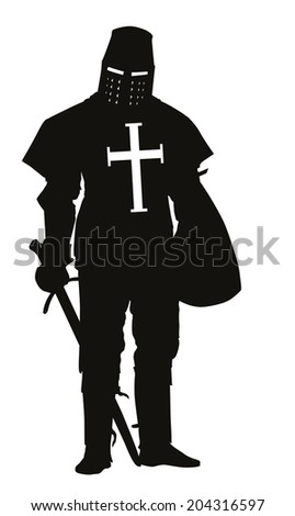 Knight with sword and shield detailed vector silhouette. EPS 8 - stock vector