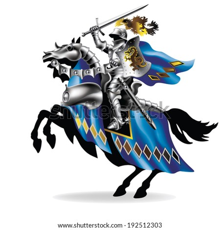 Knight with sword on horse on white background - toned in robes - stock vector
