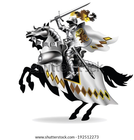 Knight with sword on horseback in white on white background - stock vector