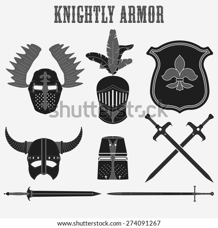 Knightly armor, helmet, sword, shield -  Warrior vector set - stock vector