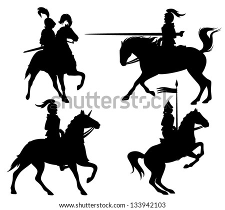 knights and horses fine vector silhouettes - black outlines over white - stock vector
